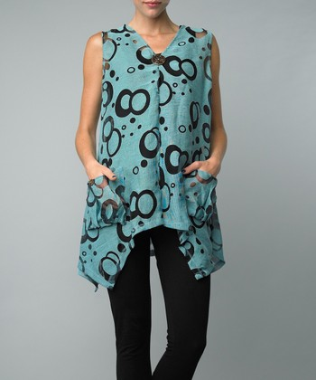 Aqua Circle Single-Button Vest