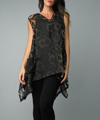 Black Circle Single-Button Vest