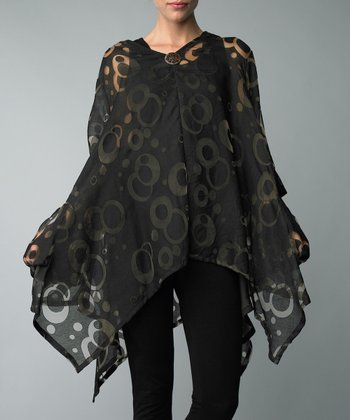 Black Circle Single-Button Cardigan