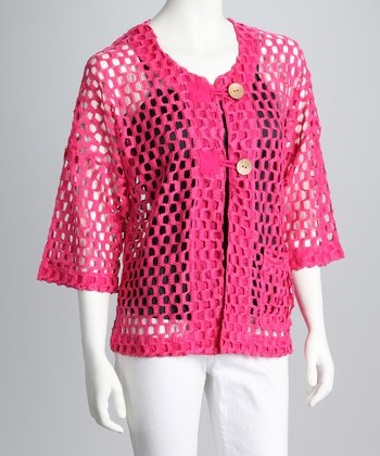 Hot Pink Net Cardigan
