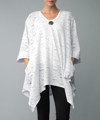 White Cutout Single-Button Sidetail Cardigan
