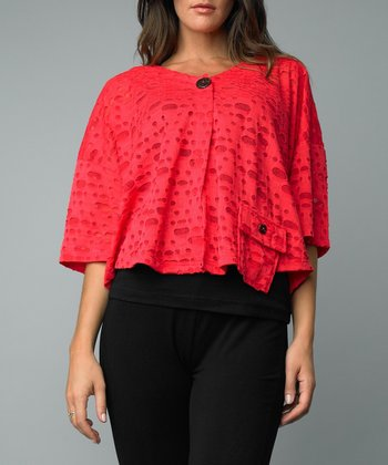 Coral Cutout Single-Button Jacket