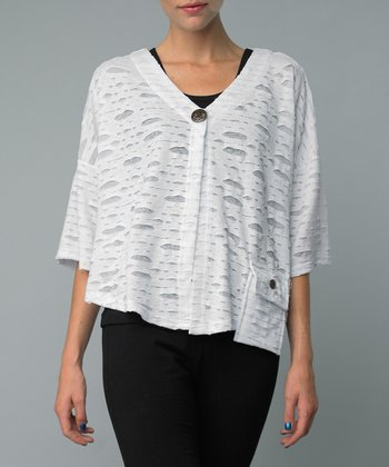 White Cutout Single-Button Jacket
