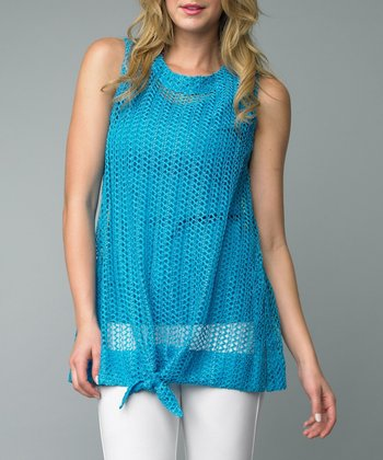 Turquoise Tie-Front Sleeveless Top