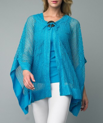Turquoise Net Single-Button Cardigan