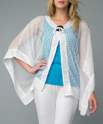 White Net Single-Button Cardigan