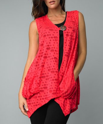 Coral Cutout Single-Button Vest