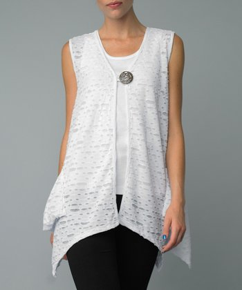 White Cutout Single-Button Vest