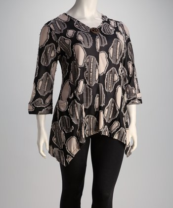 Black & White Oval Plus-Size Top