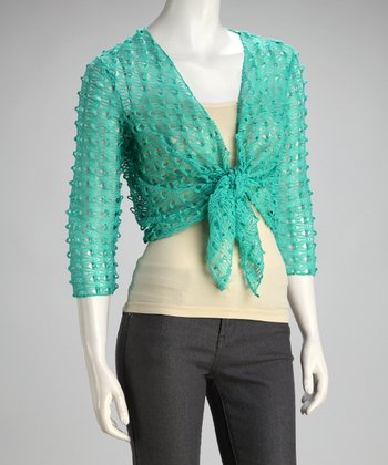 Aqua Loose-Knit Open Cardigan