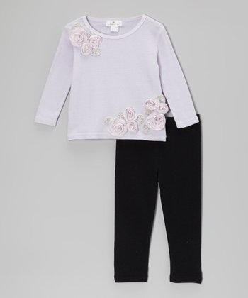 Violet Elise Flower Tunic & Black Leggings