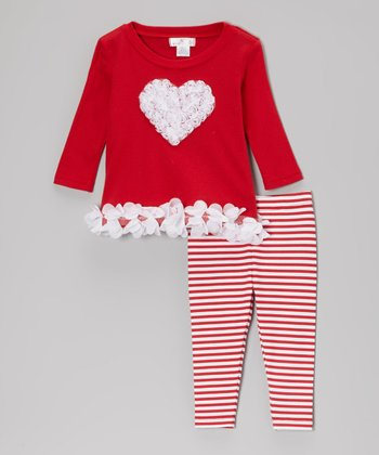 Red & White Heart Tunic & Stripe Leggings