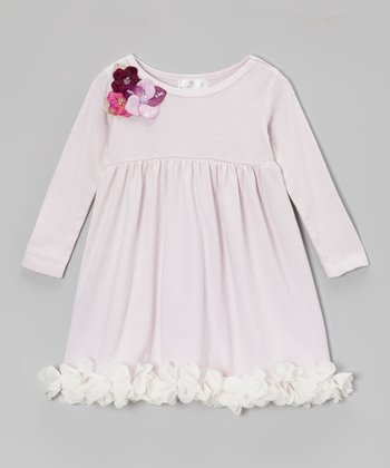 Warm Violet Sequin Flower Dress - Infant