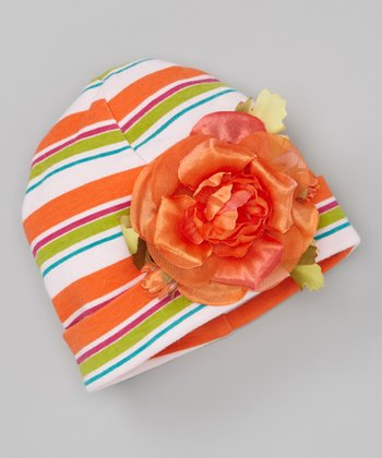 Orange Stripe Rose Beanie