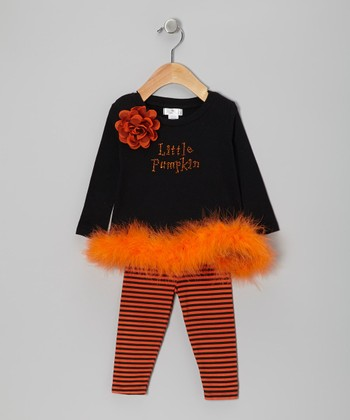 Orange & Black 'Little Pumpkin' Marabou Tunic & Stripe Leggings - Infant