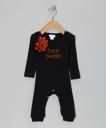 Orange & Black 'Little Pumpkin' Flower Playsuit - Infant