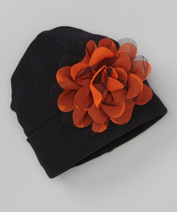 Orange & Black Flower Beanie