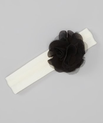 White & Black Tulle Floral Headband