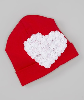 Red & White Ruffle Rose Heart Beanie