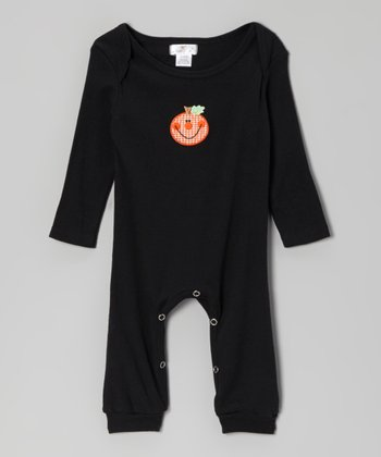 Black & Orange Gingham Pumpkin Romper - Infant