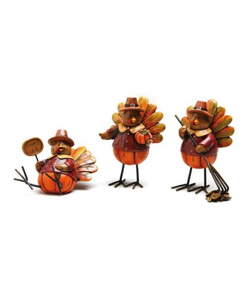 'Happy Fall' Turkey Figurine - Set of Three