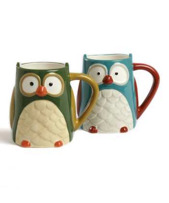 Light Blue & Green Oliver Owl Mug Set