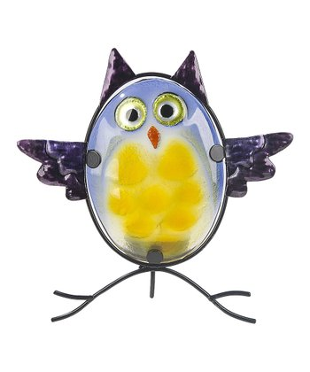 Yellow & Blue Owl Tea Light Holder