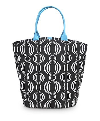 Black & Turquoise Pearly Girly Bettie Tote Bag