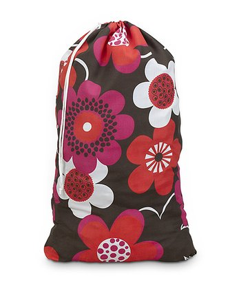 Brown Bloom Cotton Laundry Bag