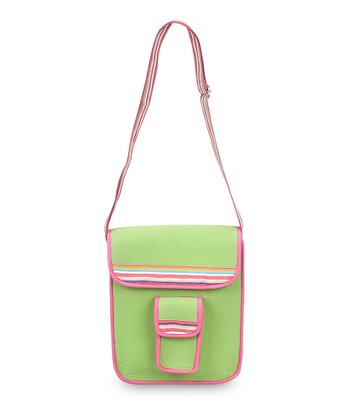 Green & Pink Color Block Crossbody Bag