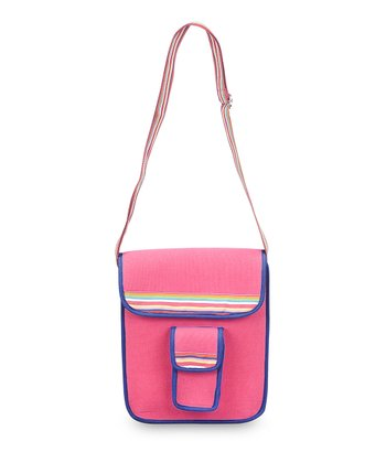 Pink & Navy Color Block Crossbody Bag