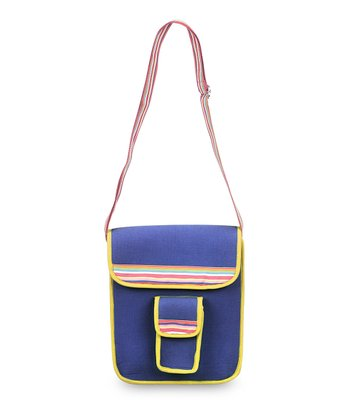 Navy & Yellow Color Block Crossbody Bag