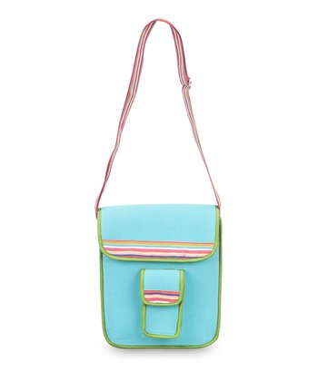 Turquoise & Green Color Block Crossbody Bag