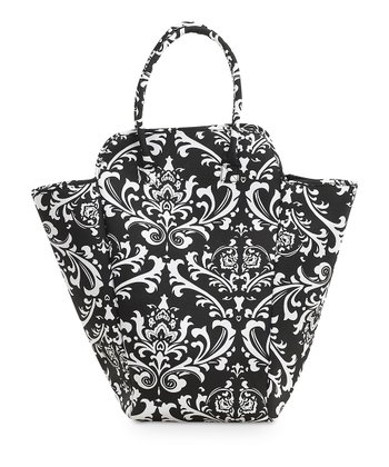 Black & White Damask Hamper Tote