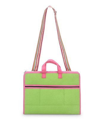Green & Pink Color Block Laptop Bag