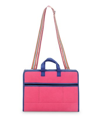 Pink & Navy Color Block Laptop Bag