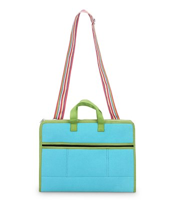 Turquoise & Green Color Block Laptop Bag