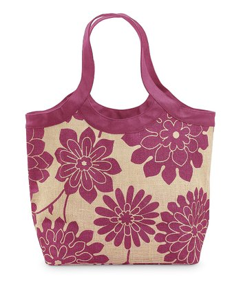 Pink & Natural Jute City Tote