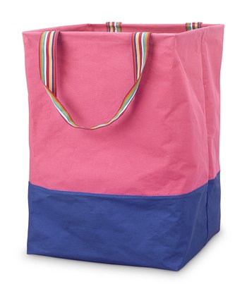 Pink & Navy Color Block Large Crunch Tote
