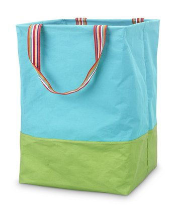 Turquoise & Green Color Block Monogram Large Crunch Shopper