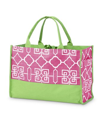 Pink Lattice Side Pocket Lot Tote