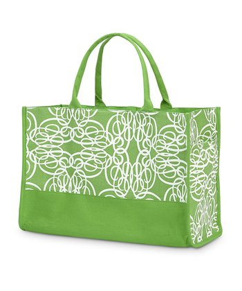 Green Classic Curl Side Pocket Lot Tote