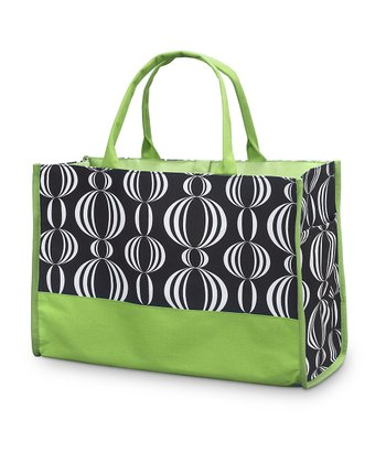 Black & Green Pearly Girly Open Tote
