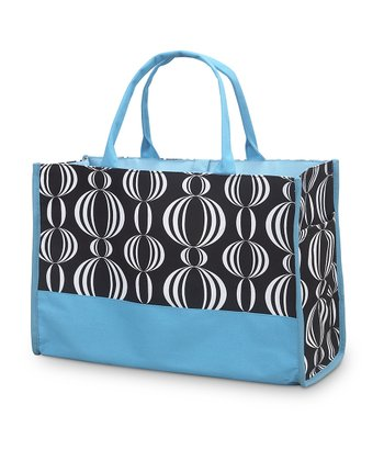 Black & Turquoise Pearly Girly Open Tote