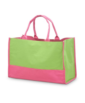 Green & Pink Color Block Lot Tote