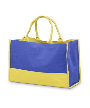 Navy & Yellow Color Block Lot Tote
