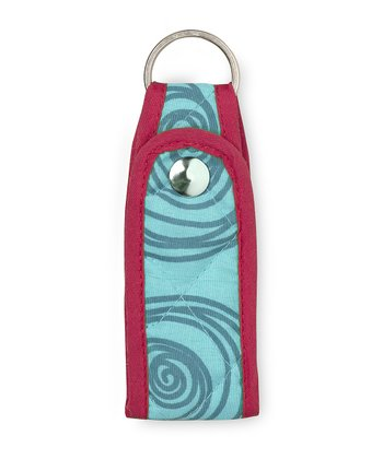 Turquoise Swirly Dot Quilted Keychain