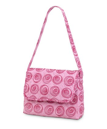 Pink Swirly Dot Quilted Messenger Bag