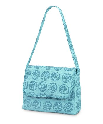 Turquoise Swirly Dot Quilted Messenger Bag