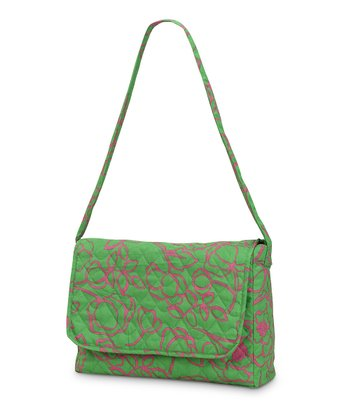 Pink & Green Camelot Quilted Messenger Bag